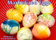 Marbelized Easter Eggs (& they are edible too if you don't mind food coloring)! These were just so easy and lots of fun to make for my 4 and 6 yr old. The colors/designs are amazing - down to the egg shells. You must try it!