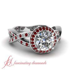 Interlace Style Pave Set Engagement Ring 0.85 Ct Round Cut Diamond & Red Ruby
