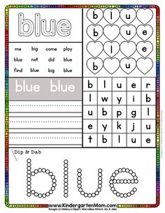 Each of these free sight word activity sheets will help guide your children to s. Color Word Activities, Phonics Activities, Sight Words Printables, Sight Word Worksheets, Sight Word Centers, Sight Word Games, Preschool Sight Words, Dolch Sight Words Kindergarten, Kindergarten Readiness
