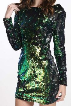 Stylish Scoop Neck Long Sleeves Backless Sequin Dress For Women