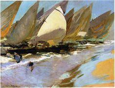 Fishing Boats by Joaquin Sorolla Y Bastida - Canvas Art Print Paintings I Love, Seascape Paintings, Landscape Paintings, Oil Paintings, Spanish Painters, Spanish Artists, Pablo Picasso, Valencia, Art Graphique