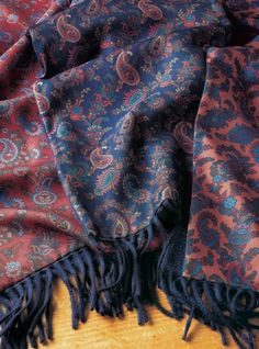 Paisley Silk Scarves with Cashmere on Reverse