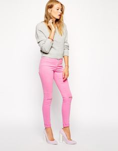 ASOS Ridley Skinny Jeans in Washed Pink with Ripped Knees