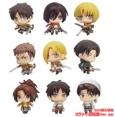 AmiAmi [Character & Hobby Shop] | Color Colle Attack on Titan 8Pack BOX (w/BOX Bonus: Levi Cleaner ver.)(Released)