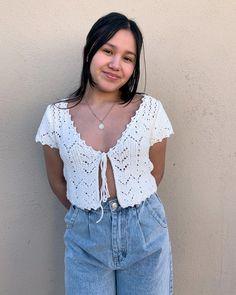Crochet Tank Tops, Crochet Shirt, Knit Tops, White Crochet Top, Cute Crochet, Crochet Designs, Knitting Designs, Crochet Clothes, Diy Clothes