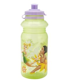 18oz.  Keep little ones hydrated with the help of Tinker Bell and her fairy friends using this water bottle. Durable by design, it also features a pull-top lid for easy sipping access and little fear of spills.