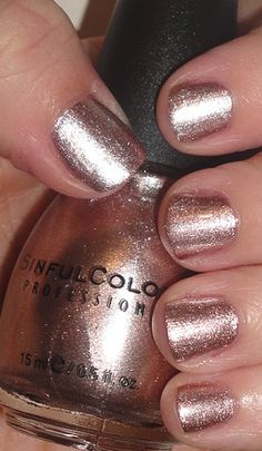 Sinful Colors Super Nova - This is one of my favorite nail polishes. It is a really pretty rose gold color.