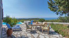 Villa with amazing sea view in Agios Nikitas Village. Island Life, Islands, Greece, Villa, Patio, Sea, Amazing, Outdoor Decor, Home Decor