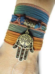 Silk Wrap Bracelet Hamsa Tree Of Life Yoga Jewelry by HVart, $24.95