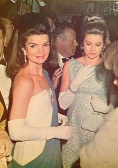 Ball in Seville, Spain, with Princess Grace.  Two beauties.