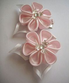 Flores de tela fabric flowers 6 pétalos rosa