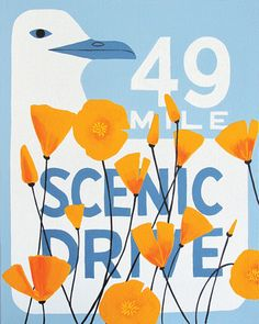 49 Mile Scenic Drive Poppy Print from 3 Fish Studios