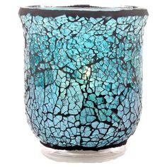 Glass candleholder with an ocean-hued mosaic motif.   Product: CandleholderConstruction Material: Glass