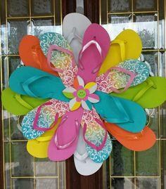 SUPER CUTE Handmade Flip Flop Wreath Door Wall Decor Girls Unique Multi Color