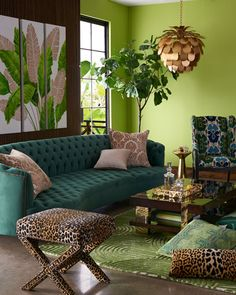 Haute House Vaughn Tufted Velvet Sofa 126 is part of Bohemian interior design - Shop Vaughn Tufted Velvet Sofa 126 from Haute House at Horchow, where you'll find new lower shipping on hundreds of home furnishings and gifts Living Room Green, Green Rooms, Sofa For Living Room, Bold Living Room, Living Rooms, Bohemian Interior Design, Bohemian Decor, Colorful Interior Design, Bohemian Style