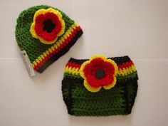 Rasta Baby Girl diaper cover hat set crochet by OtiliaBoutique, $35.00