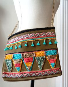 Shoulder Bags – Multi Color Embroidered 22K Gold Boho Style Clatch – a unique product by FurAccess on DaWanda
