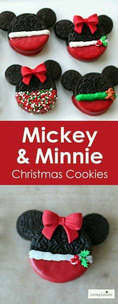 Adorable Mickey and Minnie Mouse Christmas Cookies made with OREO cookies. Adorable Mickey and Minnie Mouse Christmas Cookies made with OREO cookies. Easy no-bake Disney Christmas Cookies for a Holiday party, gifts or cookie exchange. Disney Desserts, Holiday Desserts, Holiday Cookies, Holiday Baking, Holiday Treats, Holiday Recipes, Disney Recipes, Christmas Recipes, Holiday Foods