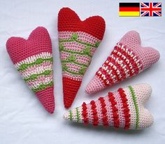 Heart x4  Crochet Pattern PDF in English Deutsch by CAROcreated
