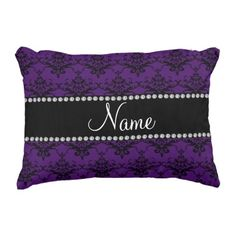 Personalized name Purple black damask Accent Pillow