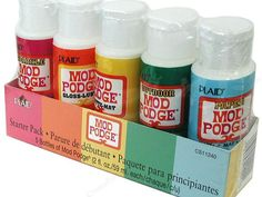"""After you learn the differences in the @modpodge by @modpodge rocks, you can run out and order a sample of every kind..or pin it under """"DIY one day"""" Plaid Mod Podge Starter Set 5 pc"""