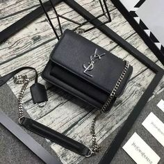 2016 Cheap YSL Small Sunset Monogram Satchel in Black Grained Leather