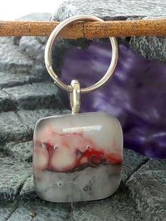 Fused Glass Keyring Greys Reds N White Design 2980 Lolasglasspendants | eBay