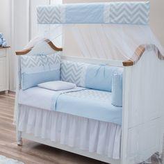 Kit Enxoval de Berço Lollipop Percal Chevron Azul 9 peças com Mosquiteiro - Biramar - Baby Enxoval - BabyEnxoval