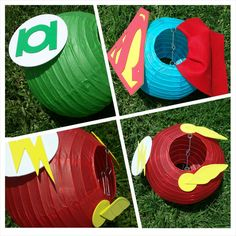 Justice League Superhero Inspired Paper Lantern Decoration Including Wonder Woman, Superman, Hawkgirl, Green Lantern and The Flash Avengers Birthday, Superhero Birthday Party, 6th Birthday Parties, Superhero Party Favors, 7th Birthday, Birthday Ideas, Lanterns Decor, Paper Lanterns, Wonder Woman Party