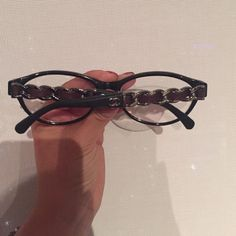 Chanel Chain Leg Eyeglasses Size 55. Wine color leather. Stunning glasses. Black frame. They have my prescription in them right now. CHANEL Accessories