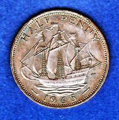 World Coins Nice 1965 Uk England Half Penny Coin Free S/h & Ins In Usa 12/30
