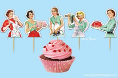 Retro Housewife Bridal Shower DIY Cupcake Toppers. $3.00, via Etsy. thought you would like Lou.