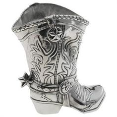 The Arthur Court Cowboy Boot Wine Bottle Holder is must have for a wine lover who also loves a western or cowboy theme. Made of aluminum and designed in the shape of a cowboy boot, this Arthur Court Cowboy Boot Wine Bottle Holder showpiece makes a unique wine cooler. The Cowboy Boot, complete with all the detailing you would see in leather tooling, is 9.5 inches tall and can also be used as a 1.5 quart pitcher or simply as a decorative accent. Any way you use it, it is sure to be a…