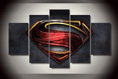 5 Piece Multi Panel Modern Home Decor Framed Man Of Steel Superman Symbol Wall Canvas Art | Octo Treasure
