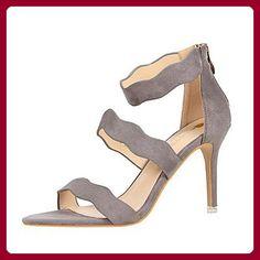 LvYuan-ggx Damen Sandalen Komfort PU Sommer Komfort Blockabsatz Schwarz Grau Rosa 75 - 95 cm  gray  us6 /...