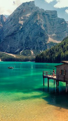 Lago di Braies in the Prags Dolomites of South Tyrol, Italy