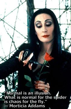 """Normal is an illusion. What is normal for the spider is chaos for the fly."" - Morticia Addams"