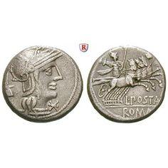 Römische Republik, L. Postumius Albinus, Denar, ss+: L. Postumius Albinus 131 v.Chr. Denar Rom. Behelmter Kopf der Roma r., dahinter… #coins