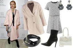 materiały prasowe, Kasia Zielińska, szara sukienka, różowy płaszcz