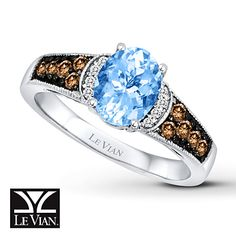 Le Vian Aquamarine Ring 1/4 ct tw Diamonds 14K Vanilla Gold  Love this so much!!