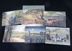 Blank Note Cards Between The Vines Water Color By Malcolm West 12 + Envelopes  #NavarroVineyards #Watercolor