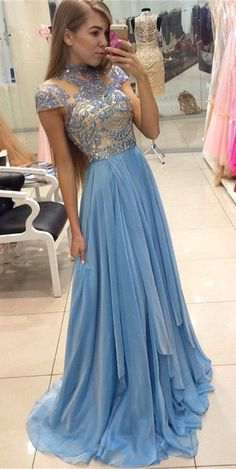 2k17 Prom Dresses 2017 New High Neck Illusion Crystal Beading Prom Dresses Short Sleeves Chiffon Long Prom Dresses Sweep Train Formal Evening Dress Party Gowns