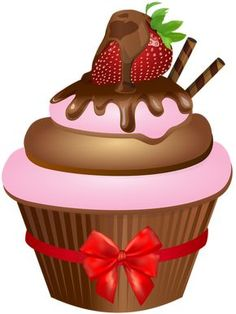 Chocolate Muffin with Strawberry PNG Clip Art Image Cupcake Kunst, Cupcake Png, Cupcake Clipart, Cupcake Toppers Free, Cupcake Illustration, Cupcake Pictures, Cupcake Images, Mini Desserts, Strawberry Png