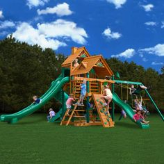 This Gorilla outdoor playset kit includes EVERYTHING a kid could want-- swings, three kinds of slides, climbing wall, and even a picnic table!
