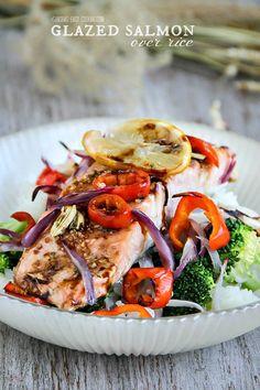 Glazed Salmon over rice #food #foodie #recipe