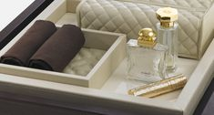 Elegant leather bathroom accessories by Riviere