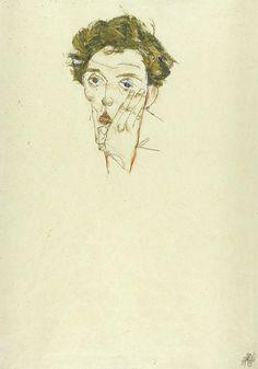 Schiele Painting - Self Portrait by Egon Schiele Egon Schiele Drawings, Self Portraits, Self Portrait Drawing, Self Portrait Artists, Abstract Portrait, Art Institute Of Chicago, Gustav Klimt, Illustration Sketches, Linocut Prints