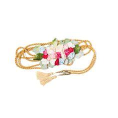 Cinturón flores de papel con cintura de cordón de seda