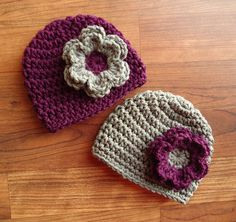 Crocheted Baby Twin Girl Hat Set, Plum Purple & Pewter Gray Hats with Flowers, Baby Shower Gift, Newborn to 24 Months - MADE TO ORDER by KaraAndMollysKids on Etsy https://www.etsy.com/listing/176563291/crocheted-baby-twin-girl-hat-set-plum