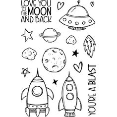 Jane's Doodles TO THE MOON Clear Stamp Set 743245